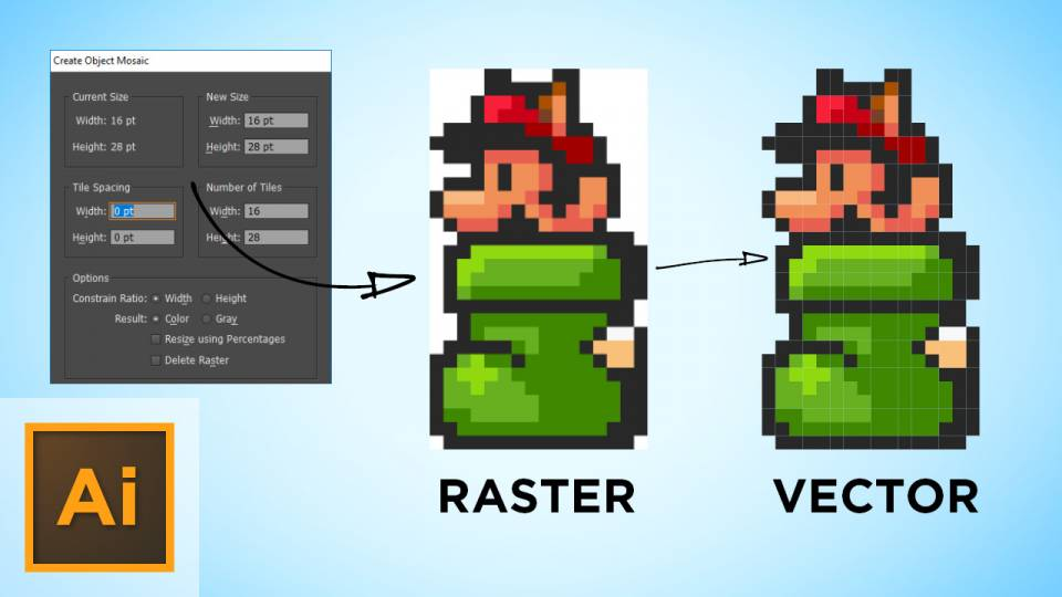 Using Object Mosaic To Convert Raster Sprites To Vector